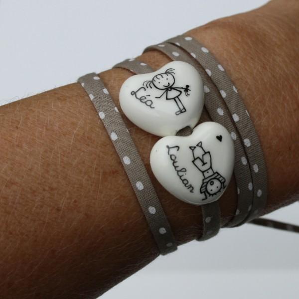 bracelet personnalisé blanc coeur claudia ladriere