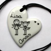 collier personnalisé coeur blanc porcelaine claudia ladriere