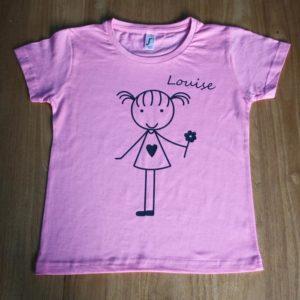 t_shirt personnalisé enfant rose claudia ladriere